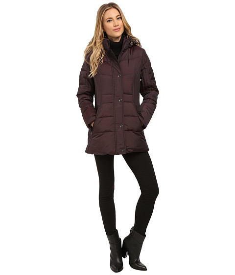 Anne Klein - Short Fly Front Down with Snaps (Burgundy) Women's Coat