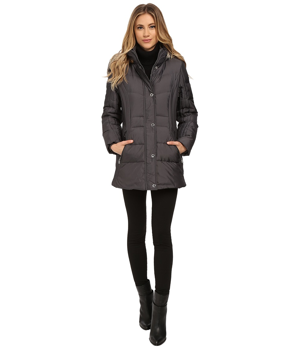 Anne Klein - Short Fly Front Down with Snaps (Slate) Women's Coat