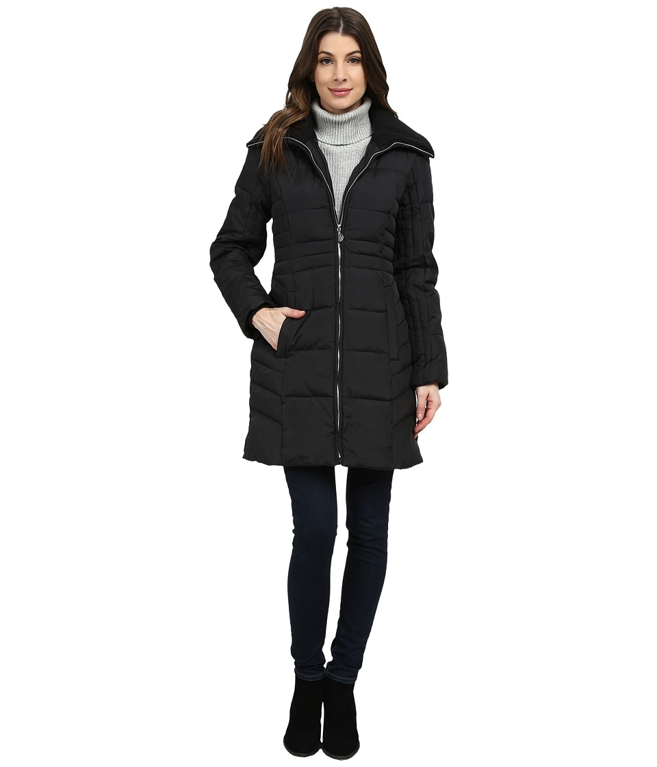 Image of Anne Klein - 3/4 Down with Knit Collar (Black) Women's Coat