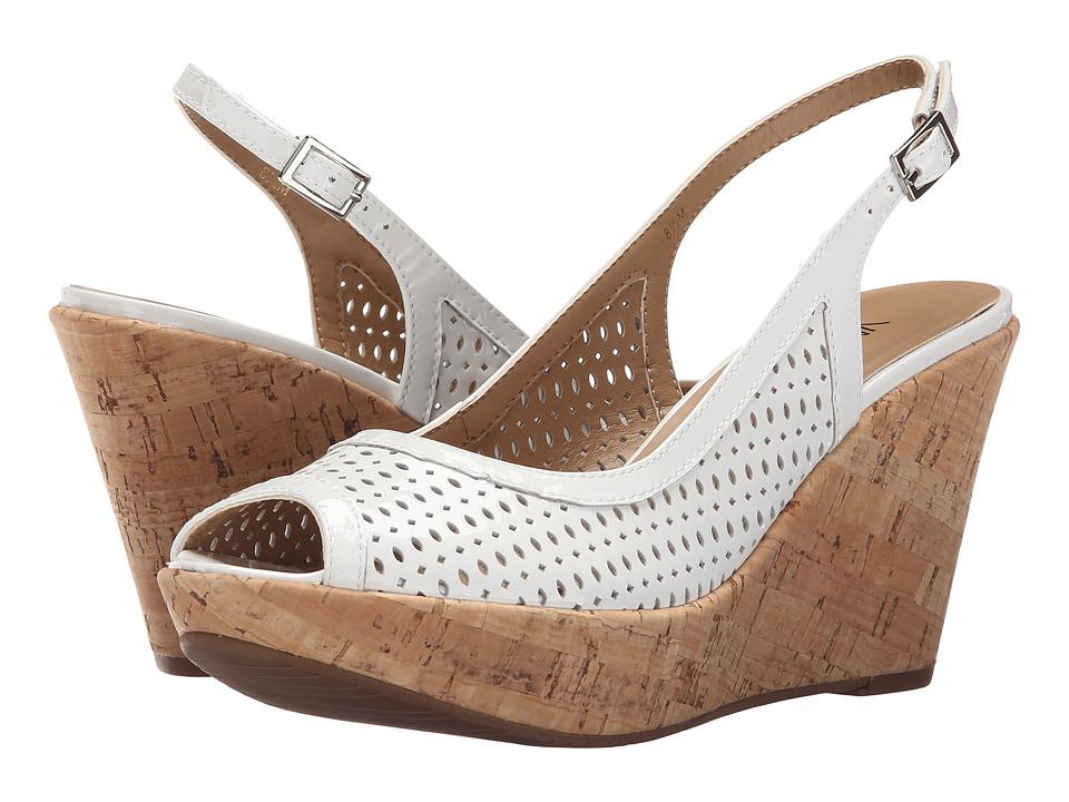Vaneli - Emine (White Mag Patent) Women's Wedge Shoes
