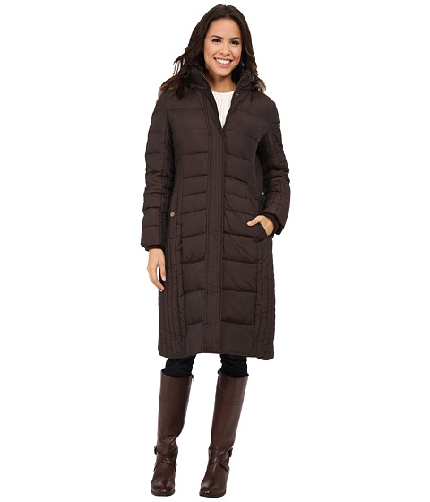 Anne Klein - Long Fly Front Down (Bronze) Women's Coat