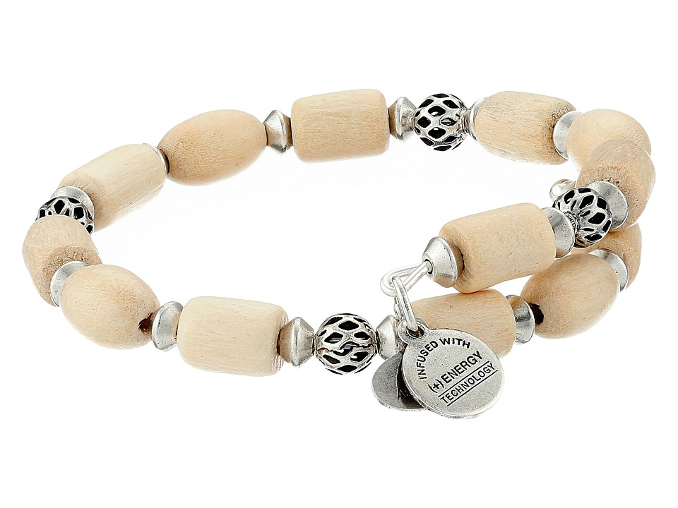 Alex and Ani - Depths of the Wild Woodland Hush Wrap Bracelet (Silver/Blonde Wood) Bracelet