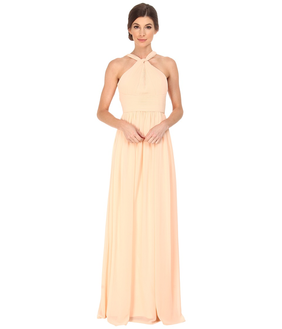 Donna Morgan Halter with Pleats (Apricot) Women