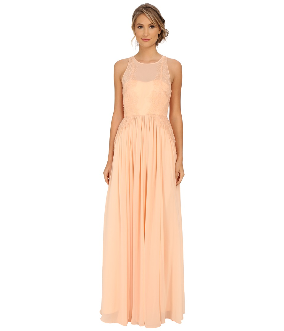 Donna Morgan - Illusion Neck with Lace Trim (Apricot) Women's Dress