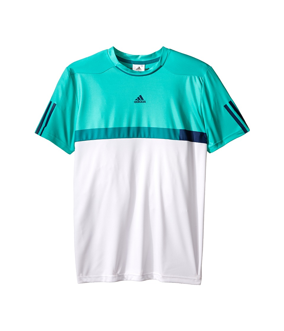 adidas Kids - BARRICADE Tee (Little Kids/Big Kids) (White/Shock Mint) Boy's T Shirt