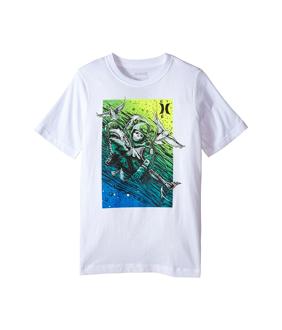 Hurley Kids - The Catch Short Sleeve Tee (Big Kids) (White) Boy