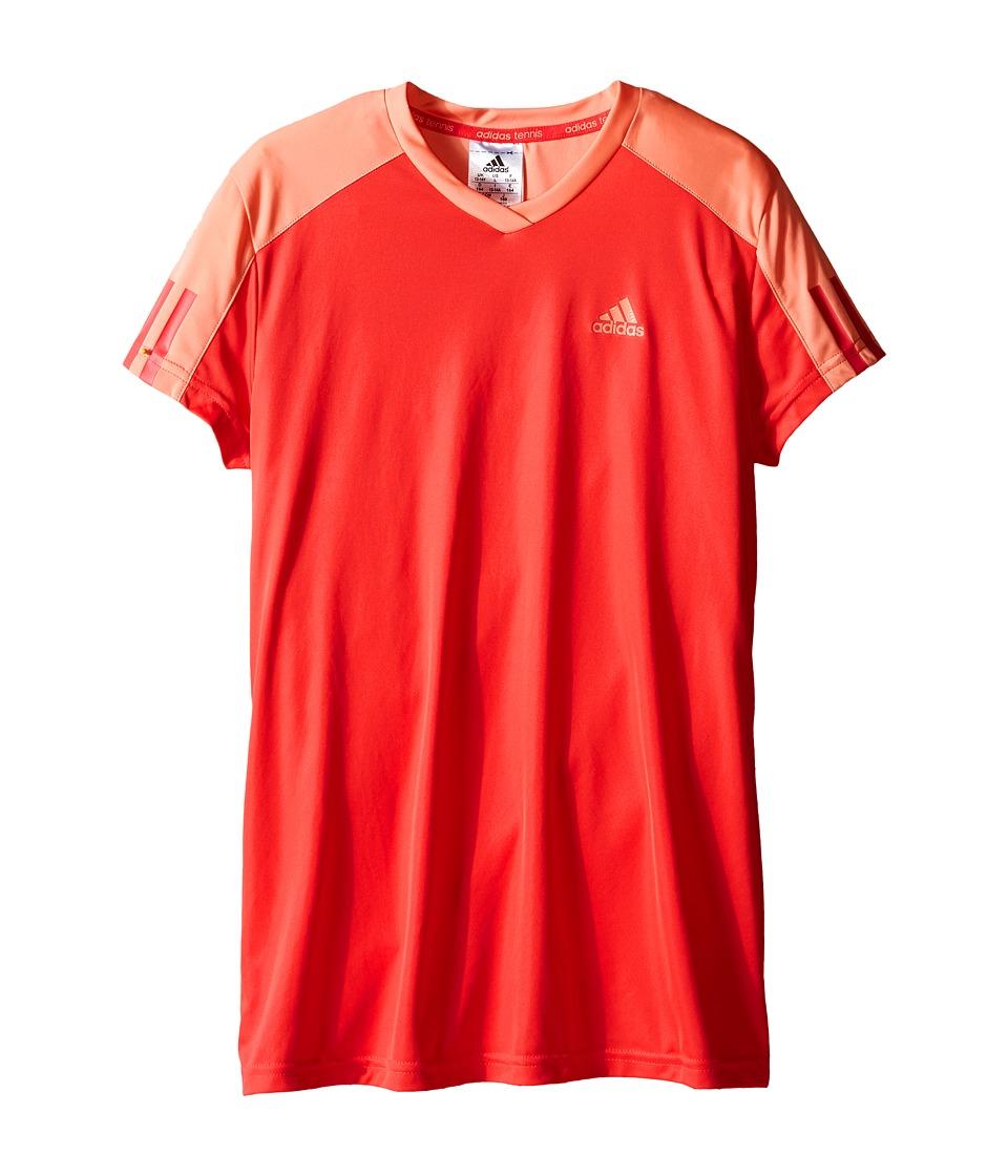 adidas Kids - Club Tee (Little Kids/Big Kids) (Shock Red/White) Girl's Short Sleeve Pullover