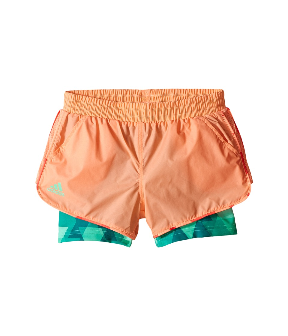 adidas Kids - Club Trend Shorts (Little Kids/Big Kids) (Sun Glow/Green Glow) Girl's Shorts