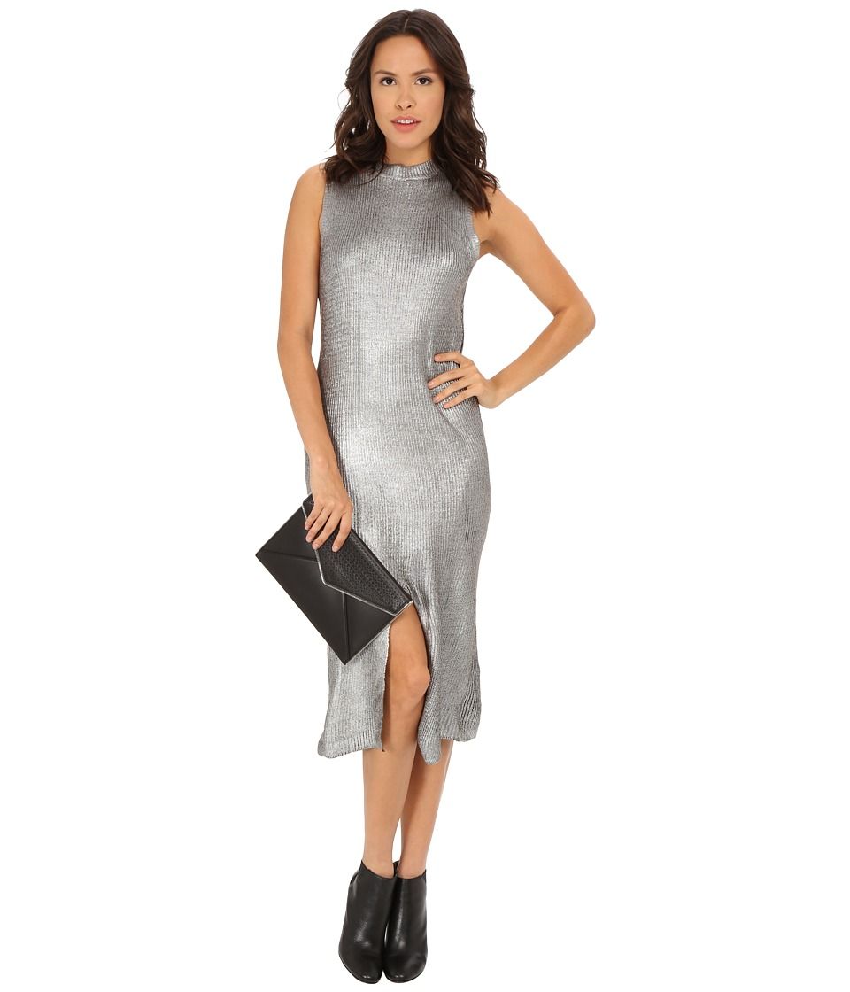 MINKPINK - Shine Bright Foiled Knit Split Hem Dress (Charcoal/Silver) Women