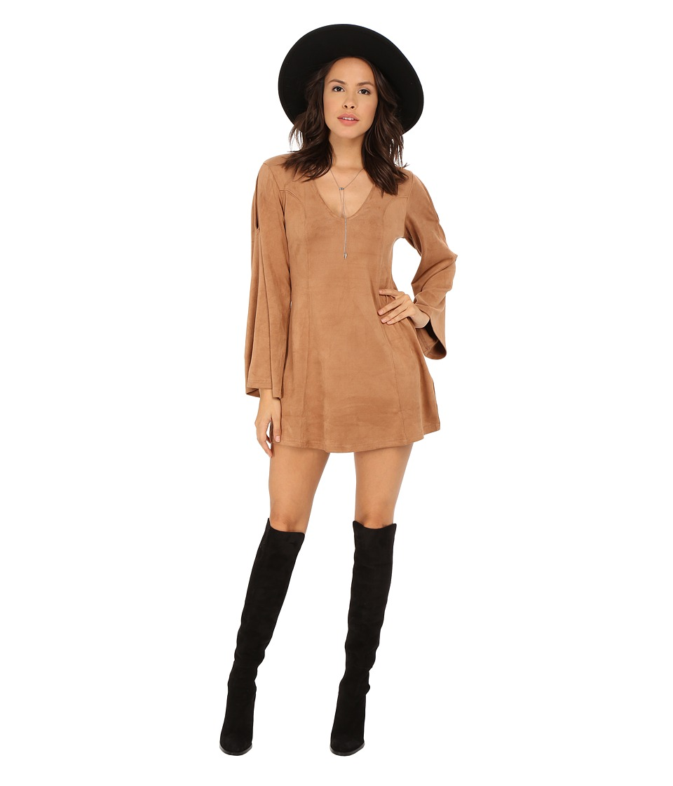 MINKPINK - Truth Potion Bellsleeve Dress (Tan) Women