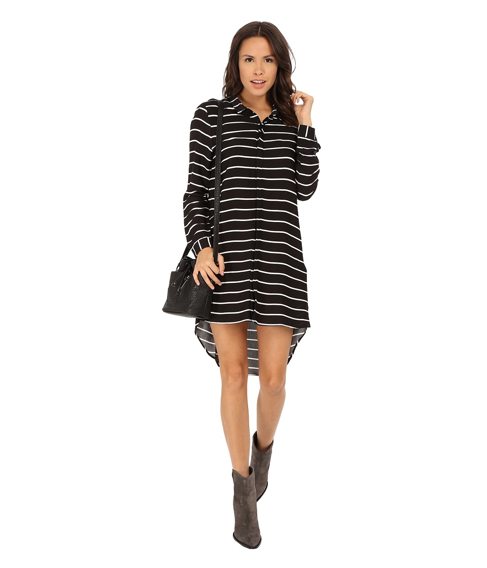 MINKPINK - Talk the Talk Shirtdress (Black/White) Women's Dress