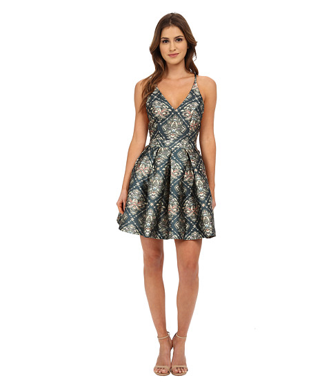 MINKPINK - Dare to Dance Plunge V-Neck Dress (Multi) Women