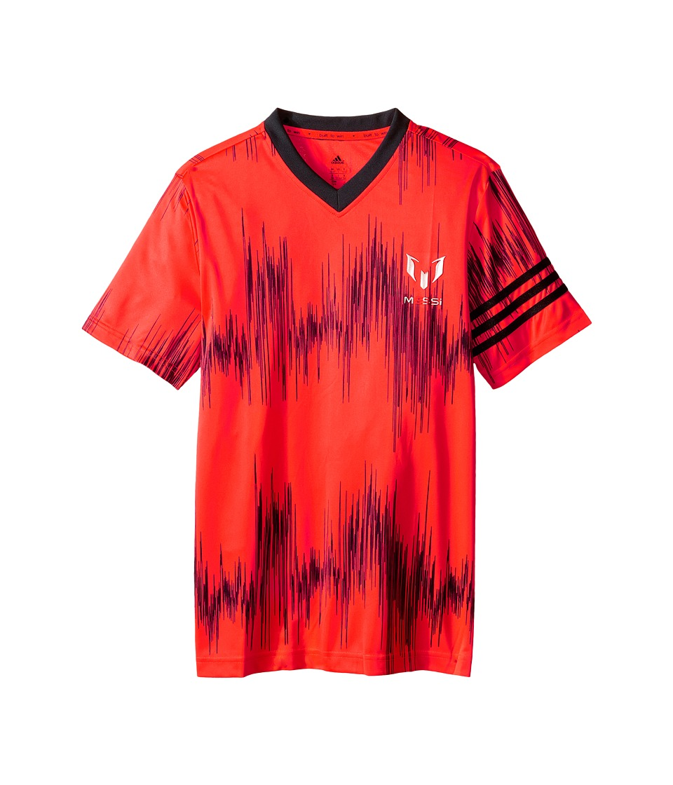adidas Kids - Messi Aop Tee (Little Kids/Big Kids) (Solar Red/Black) Kid's Short Sleeve Pullover