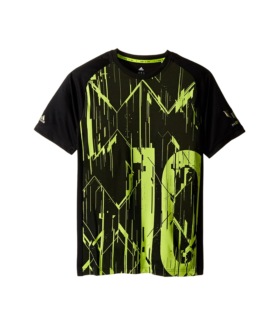 adidas Kids - Messi Icon Tee (Little Kids/Big Kids) (Black/Semi Solar Slime) Kid's T Shirt