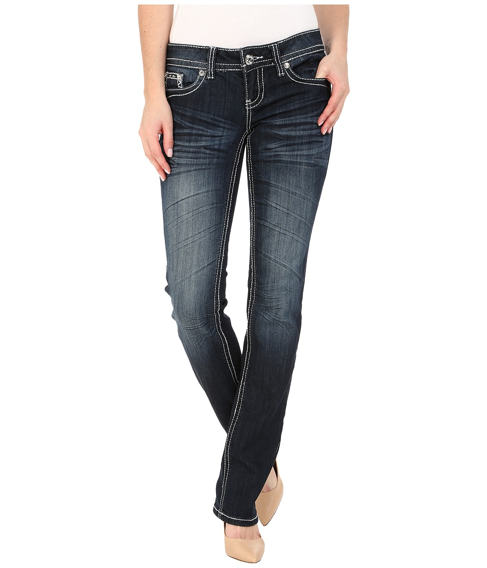 Antique Rivet - Straight Leg Stretch Coated Jeans in Lennox Wash (Lennox Wash) Women's Jeans