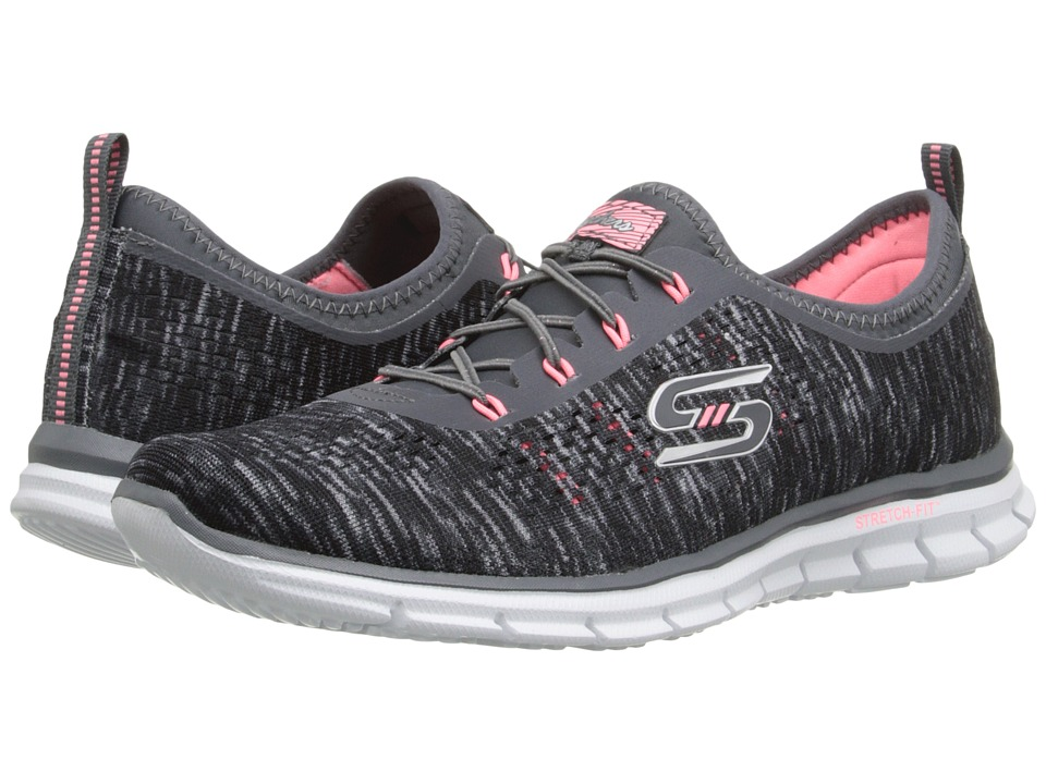 SKECHERS - Glider - Deep Space (Charcoal/Coral) Women's Lace up casual Shoes