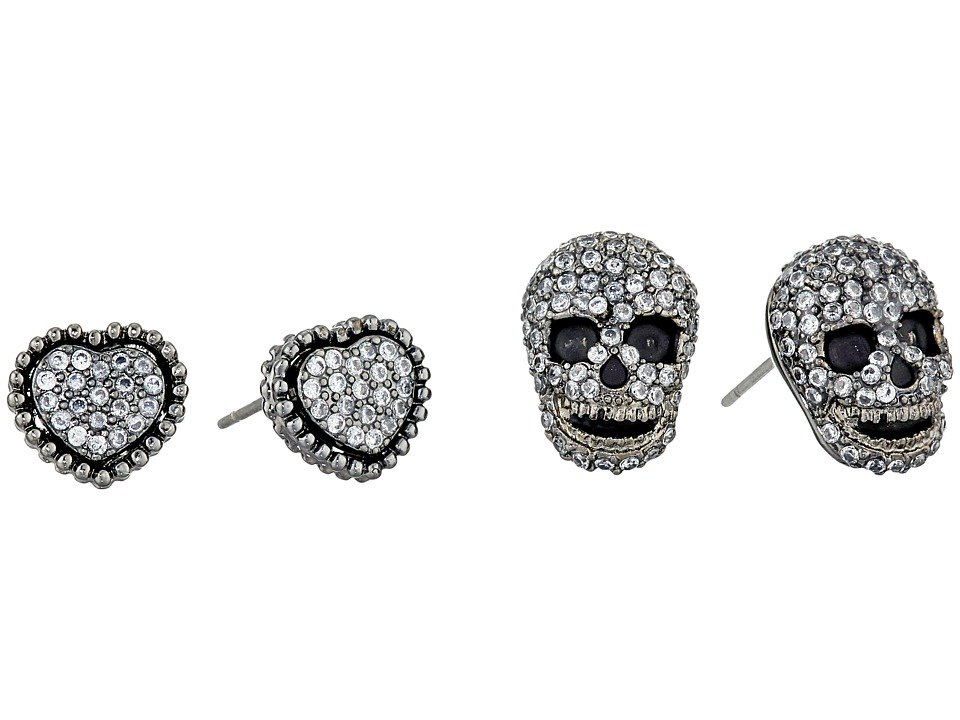 Betsey Johnson - CZ Duos Heart Skull Stud Earrings (Crystal) Earring