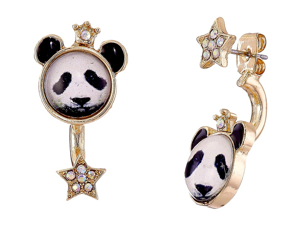 Betsey Johnson - Costume Critters Panda Front Back Earrings (Black/White) Earring