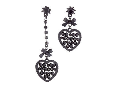 Betsey Johnson - Pitch Black Heart Non-Matching Earrings (Black) Earring