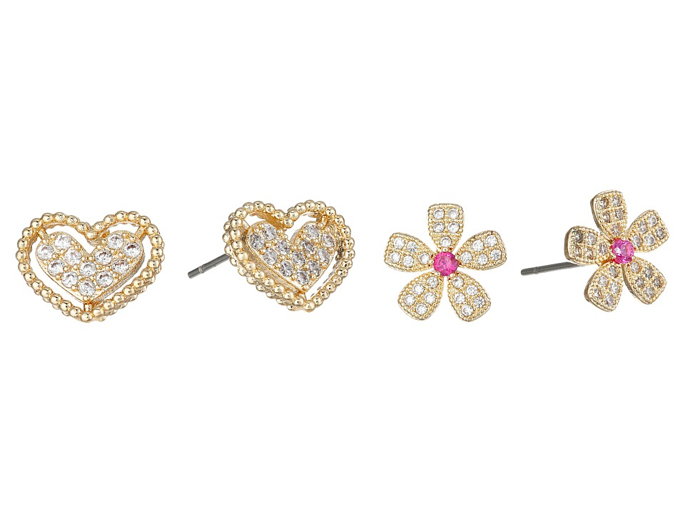 Betsey Johnson - CZ Duos Flower Heart Stud Earrings (Crystal) Earring