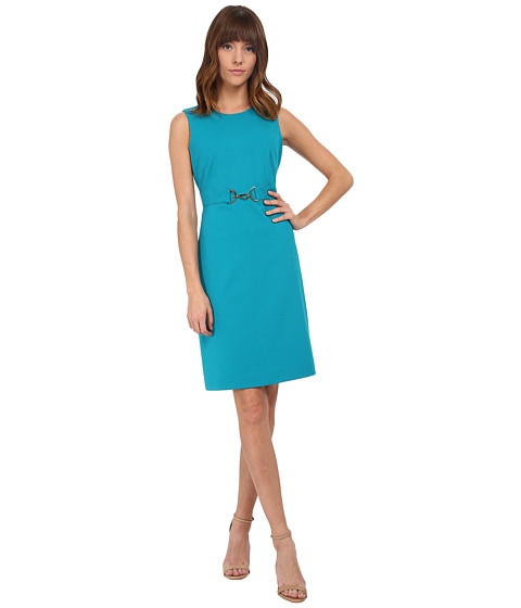 Calvin Klein - Sheath with Buckle Detail (Lagoon) Women's Dress
