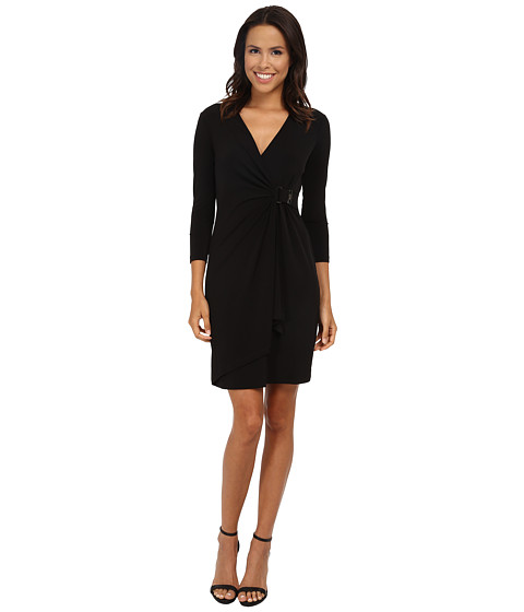 Calvin Klein - Wrap Dress with Hardware Detail (Black) Women's Dress