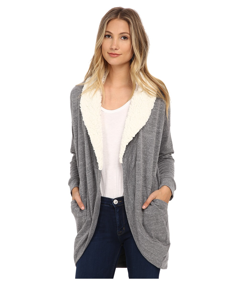 Splendid - Faux Sherpa Cardigan (Heather Grey/Natural) Women's Sweater