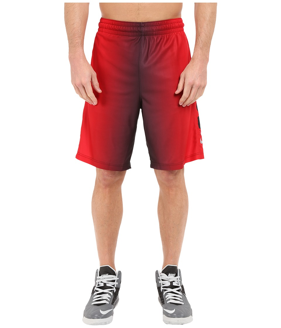 Nike - Elite Stripe Plus Basketball Short (Black/University Red/Black/Metallic Silver) Men's Shorts