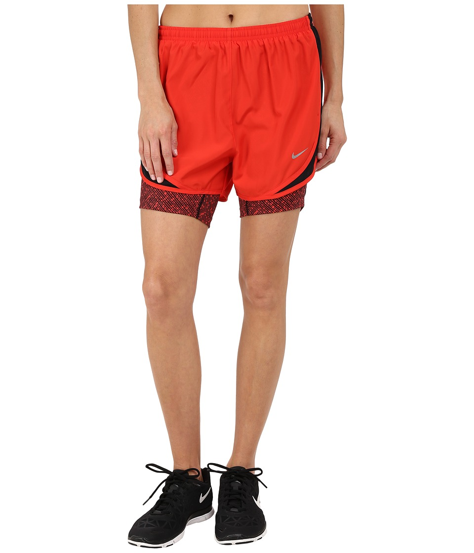 Nike - 2-in-1 Tempo Print Compression Short (Light Crimson/Black/Light Crimson/Reflective Silver) Women's Shorts
