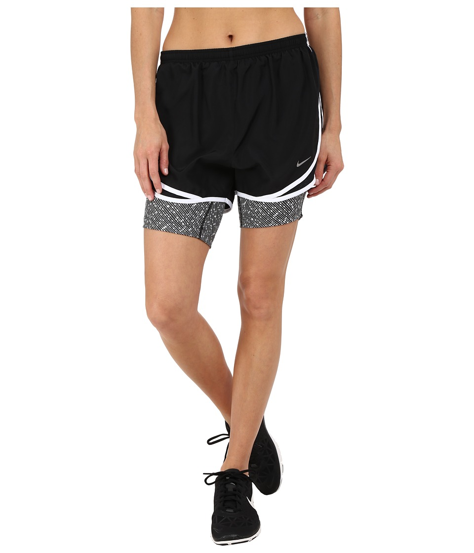Nike - 2-in-1 Tempo Print Compression Short (Black/Black/White/Reflective Silver) Women's Shorts