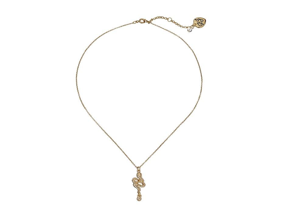 Betsey Johnson - CZ Snake Necklace (Gold) Necklace