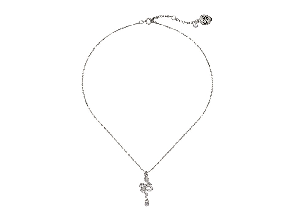 Betsey Johnson - CZ Snake Necklace (Rhodium) Necklace