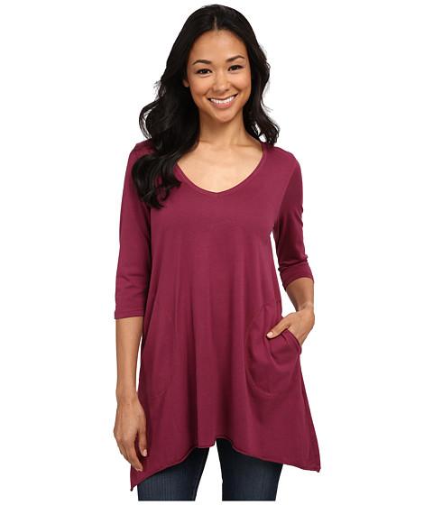 Allen Allen - 3/4 Sleeve V-Angled Tunic (Syra) Women's Short Sleeve Pullover