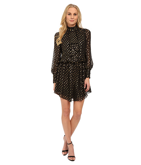 Adrianna Papell - Long Sleeve Disco Dress with Cascade Ruffle Front (Black/Gold) Women