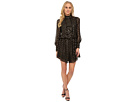Long Sleeve Disco Dress with Cascade Ruffle Front