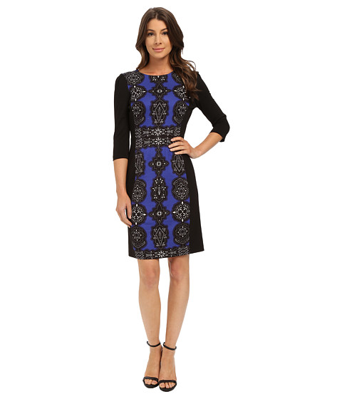Adrianna Papell - Jewel Printed Pointe Dress (Iris/Black) Women