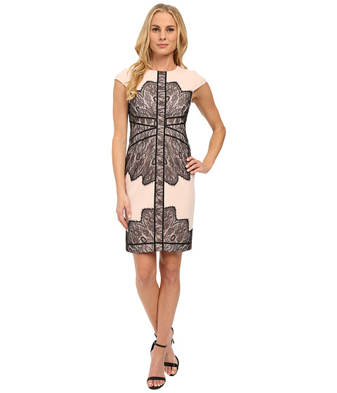 Adrianna Papell - Cap Sleeve Dress with Contrast Lace Overlay (Blush/Black) Women's Dress