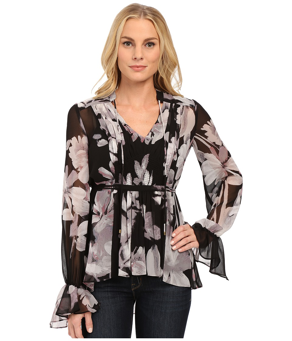 Adrianna Papell - Boho Shirred Detail Chiffon Print Top (Black/Ivory) Women's Clothing