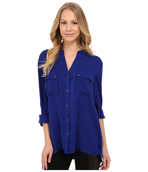 Adrianna Papell - V-Neck Long Sleeved Blouse with Pockets (Iris) Women