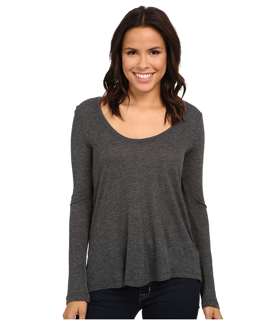 Splendid - Sparkle Jersey Scoop Neck (Charcoal) Women's Clothing