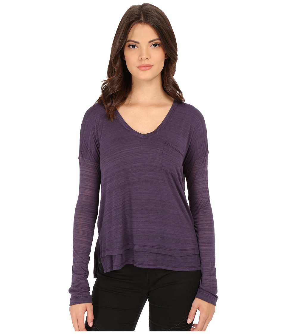 Splendid - Space Dye Luxe Jersey Long Sleeve (Plum Wine) Women's Clothing