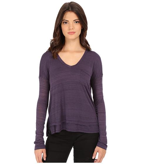 Splendid - Space Dye Luxe Jersey Long Sleeve (Plum Wine) Women's Clothing
