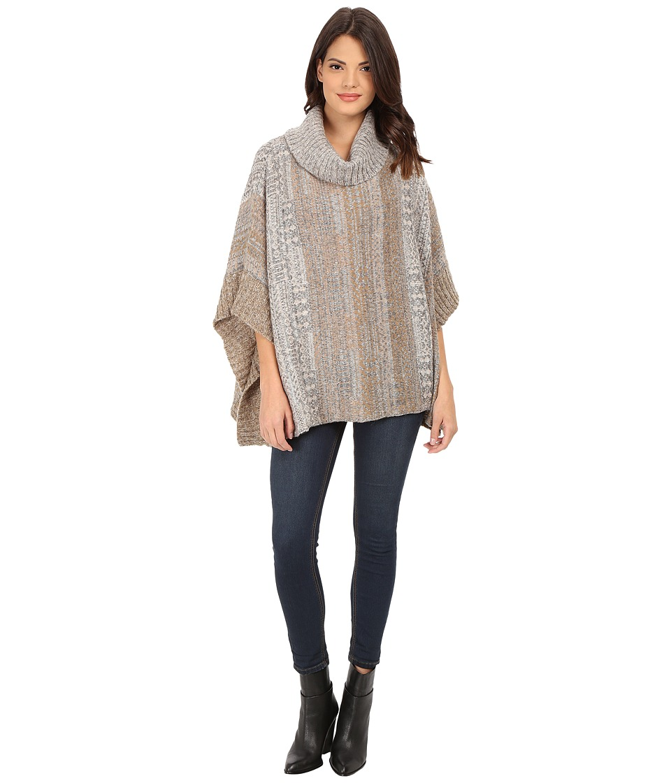 Splendid - Snowfall Jaquard Poncho (Warm Sand Multi) Women's Clothing