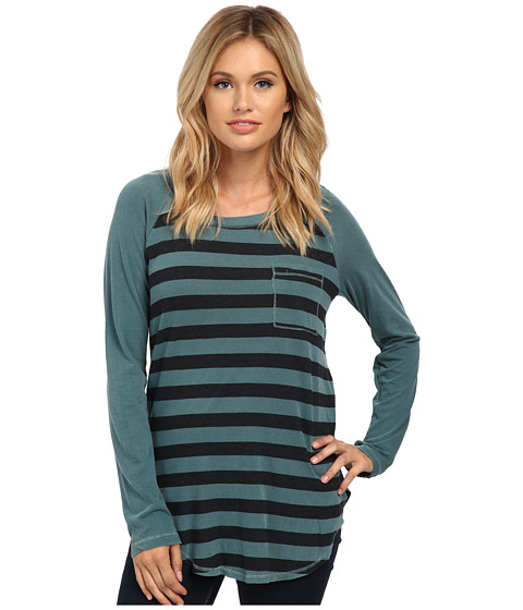 Splendid - Vintage Charcoal Rugby Stripe (Vintage Pine Green) Women's Clothing