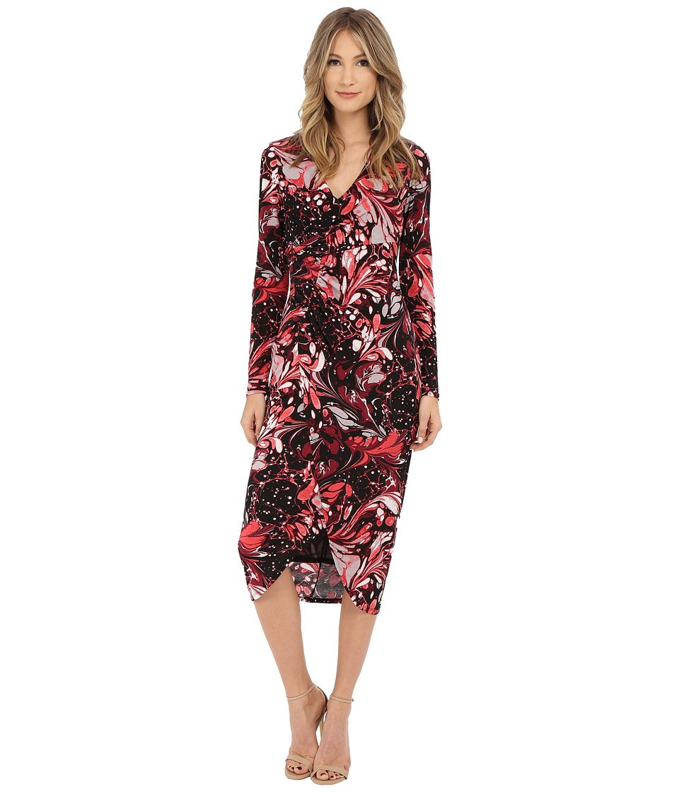 Adrianna Papell - Print V-Neck Rouched Dress (Pink Multi) Women's Dress