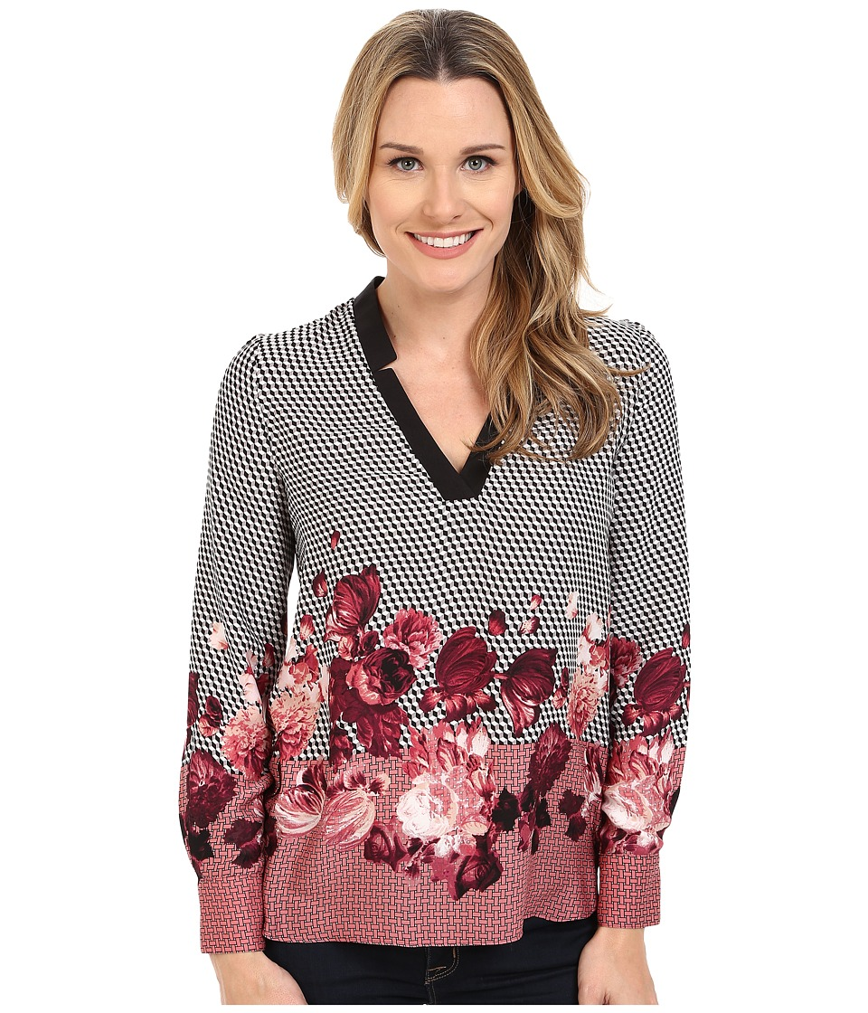 Adrianna Papell - Placement Print Tunic (Pink/Black) Women's Blouse