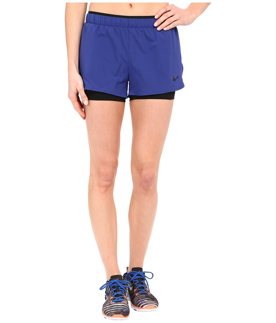 Nike - Full Flex 2-in-1 2.0 Shorts (Deep Royal Blue/Black/Black) Women's Shorts