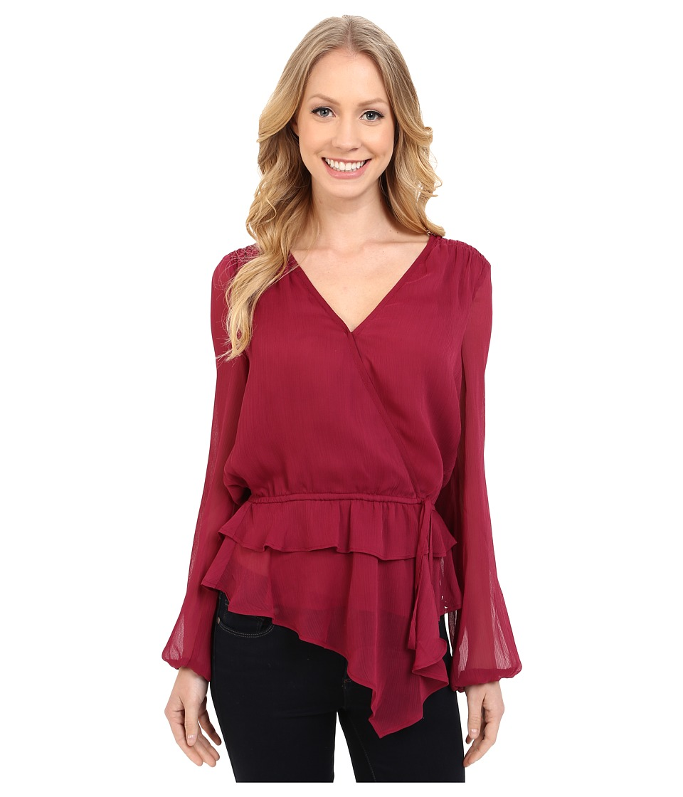 Adrianna Papell - Chiffon Wrap Top with Ruffle Waist Detail (Beet) Women's Blouse