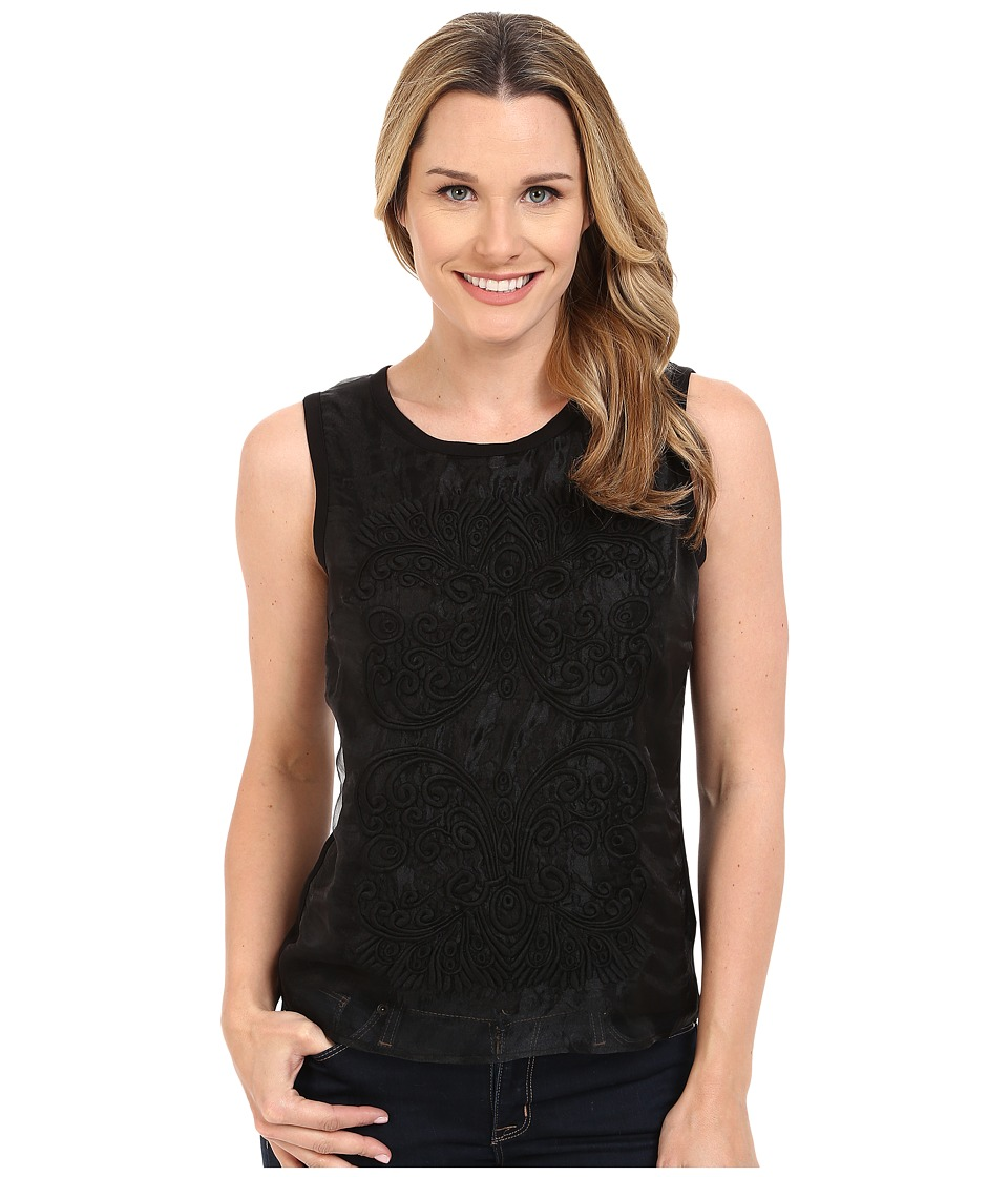 Adrianna Papell - Sleeveless Top with Embroidered Front on Organza (Black) Women's Sleeveless