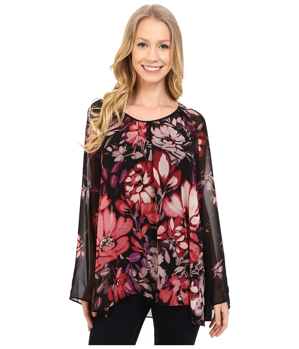 Adrianna Papell - Shirred Shoulder Babydoll Printed Top (Black/Pink) Women's Blouse